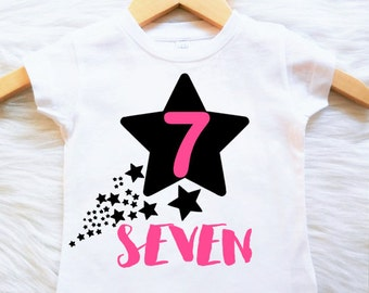 ANY AGE Any Color Birthday Star shirt CUSTOMIZABLE Colors coral mint gray cute third fourth fifth sixth second first seventh