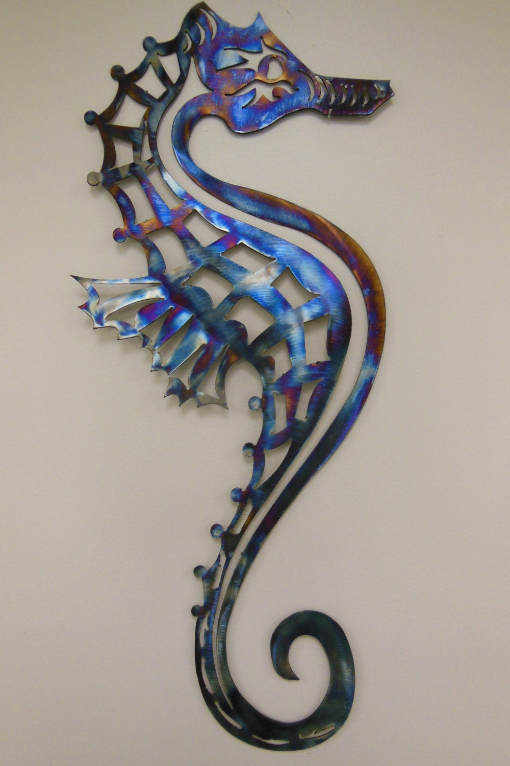 seahorse metal art wall sculpture in aluminum or stainless. Black Bedroom Furniture Sets. Home Design Ideas