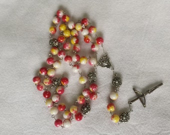 Multicolored Glass Bead Rosary with Silver Metal