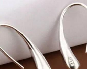 Sterling Silver Overlay Teardrop Hook Earrings