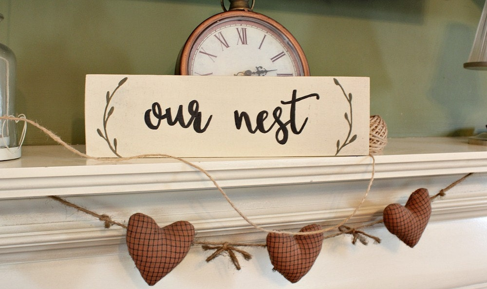 rustic home decor rustic wooden sign our nest wood sign our