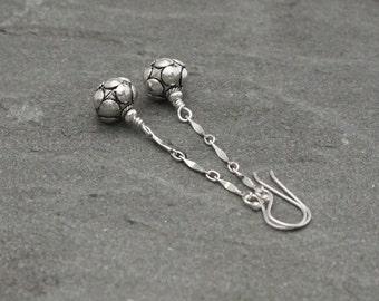 Sterling Silver Dangle Earrings, Silver Chain Earrings, Turkish Silver Earrings, Bali Jewelry, Silver Bead Dangles, Long Silver Dangles
