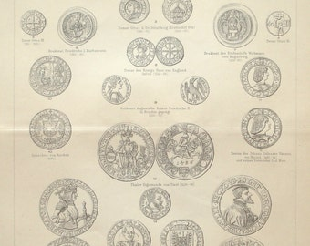 Ancient coins original 1895 currency print - Money, art print, wall decor - 121 years old German antique illustration (B823)