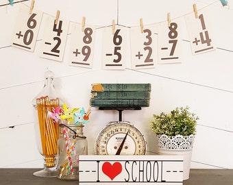 Painted Wood I Heart School Homeschooling Room Decor / Teacher Gift