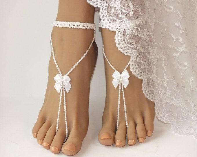 Starfish Wedding white barefoot sandals,Barefoot sandals. Beach Wedding.Bridal barefoot sandals. Beach wedding shoes.