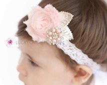 Baby Lace Headband, Baby Pink Headband, Shabby Headband, Pink Silver Headband, Pink Baby Headband, Silver Baby Headband, Pink Headband