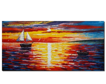 Abstract Painting, Canvas Painting, Abstract Art, Original Art, Wall Art, Oil Painting, Large Painting, Wall Art, Sailing Boat, Sunrise