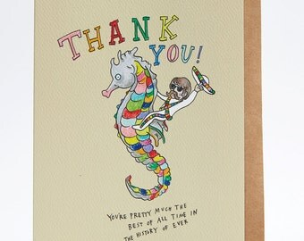 Thank you card, funny thank you card, thanks card, 'Seacowboy', hand drawn, handmade