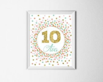 10 Sign 10th Birthday Sign Tenth Birthday Party Decor Mint Coral Gold Girl Birthday Party Decorations Mint Gold Coral Decor Ten Sign