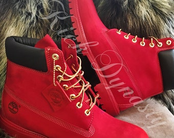 All Red Custom Dyed Timberland Boots Suede