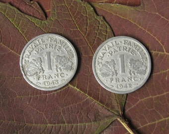 1940s One Franc Coins, French Necklace, French Coin Necklace, Old French Coins, Vintage French Coin, Old Coin Necklace