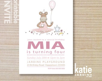 monkey invitation - kids invitation  - printable invitation - monkey tea party - girls invite - pink - sitting monkey