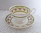 """Antique Set of 10 Foley China """"Antique Rose"""" Tea Cups and Saucers by Wileman and Co, In Cases, Pattern 10136, Adelaide Shape, Circa 1890s"""