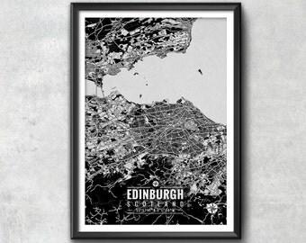 EDINBURGH Scotland Map with Coordinates, Edinburgh Map, Map Art, Map Print, Edinburgh Print, Edinburgh Art, Edinburgh, Edinburgh Wall Art