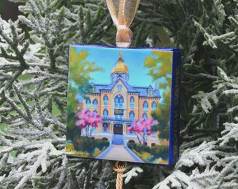 University of NOTRE DAME Ornament or Magnet / College Ornament or Magnet / University of Notre Dame Mini Canvas Ornament or Magnet