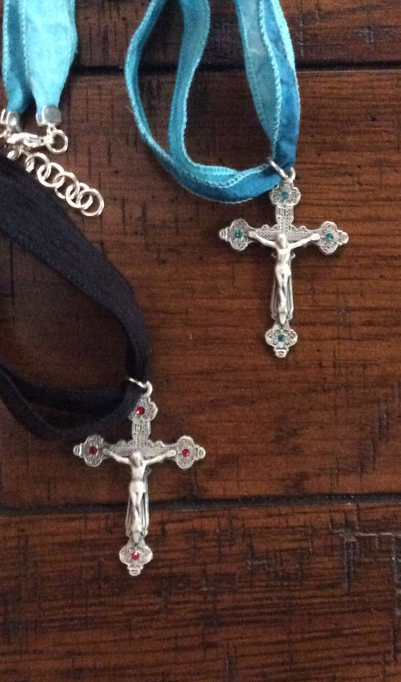 STERLING SILVER SILK Ribbon Choker with Pewter Crucifix