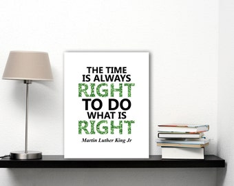 Martin Luther King Black History Poster, Literary Art Print, Motivational Print, Famous Quote Art Print, Green Glitter Words, JPG, JPEG