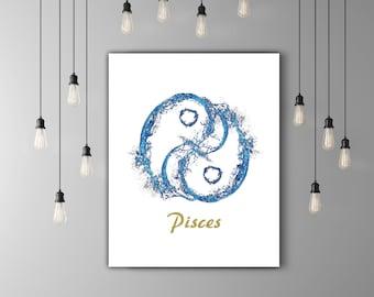 Astrology Art Zodiac Signs, Horoscope Zodiac Art, Zodiac Print Gold Artwork, Astrology Print Pisces Art, Printable Artwork Astrology Poster