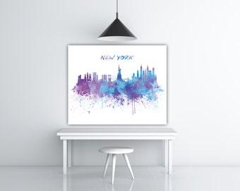 New York Skyline Art, New York Watercolor Skyline Poster, New York City Scape, NYC Wall Art, Cityscape Art Silhouette Painting Panoramic Art