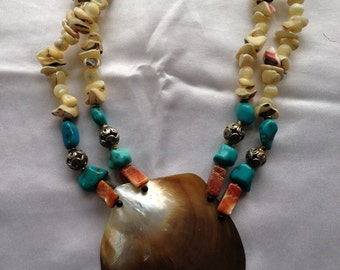 Statement Shell & Turquoise Necklace