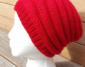 Red Slouchy Beanie Slouch Hat Red Ribbed Beanie Knit hat Red Slouchy hat Beanie red knit winter Women slouchy hat hipster knit hat red beret