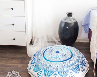 Ottoman Pouf Floor Cushions Pouf Seating Meditation Cushion Floor Pillow Seat Cushion Pouffe Mandala Cushion Cover