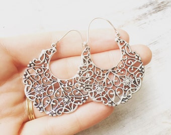 Vine & Bloom Brass Earrings, Boho Earrings, Tribal Earrings, Hoop Earrings, Gold Earrings, Gipsy Earrings, lalaboho