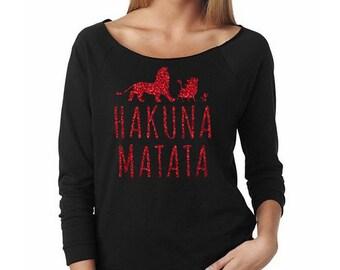 Hakuna Matata // Lion King Silhouette Off the Shoulder Sweatshirt // Disney Lion King Sweatshirt // Disney Lover Shirt // Pumba Shirt