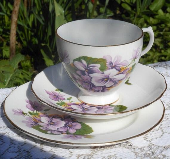 SALE...GAINSBOROUGH TRIO - Vintage 1940's -  English Bone China - Purple violets - Purple flowers - Tea Cup Trio - Tea set - Afternoon Tea
