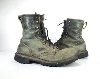 10 - Vintage Military Style Steel Toe Boots Distressed