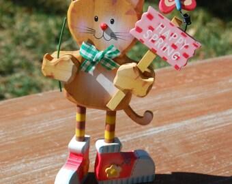 Cat figurine. Tabby Cat. Happy Tabby. Carved Kitten. Spring Kitten. Cat collectors. Cat figurine. Kitten Figurine. Cat Decor. Kitten Decor.