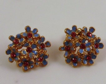 Vintage Blue and Pink Flower Bouquet Screw back Earrings