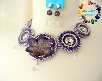 Purple Dendrobium Orchid Jewelry set (aubergine-light pink-clear-silver)
