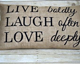 Live Laugh Love Pillow,16x26 Burlap Pillow,Worded Pillow,Rustic Home Decor, Expression Pillow, Inspirational Pillow