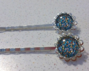 Cute Hairpins with Blue Flower Glass Stone Hair pins
