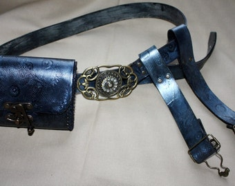Steampunk belt with two garters and Steampunk belt purse