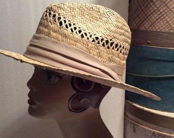 20% OFF SALE Vintage Wide Brim Natural Straw Hat/Vivian