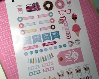 Kawaii food sticker & donuts/ice cream