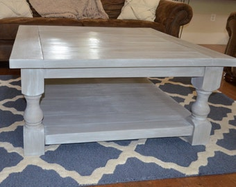 Square Turned Leg Coffee Table