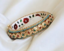 Navratna Jadau Bangle Bracelet,  Pearl bracelet, Cuff, Designer Cuff, Indian Jewelry