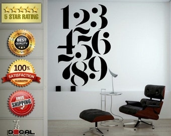 Numbers One Through Nine Wall Decal Vinyl Sticker Mural Room Decor L1773