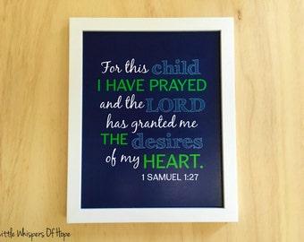 Baby Scripture Art, Printable Christian Art, For This Child I Have Prayed, Navy Nursery Wall Art, Baby Boy Room Art, Digital Print 8x10.
