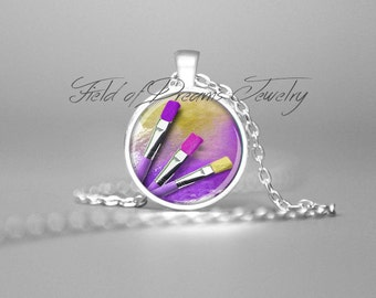 ARTIST PAINTBRUSHS PENDANT Gifts for Artists Art Teacher Gifts Artist Palette Artist Gift Purple Necklace Artist Jewelry Painters Palette