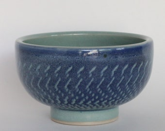 Clear Blue Glazed and Chattered Ceramic Bowl
