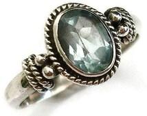 Blue Topaz Tiny Edge Detail Sterling Silver Ring, Birthstone Ring, Gemstone Ring, Stacking Ring, Pandora Style Ring, Mistry Gems, R5BT