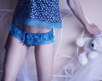 Lights / Polka dot cotton jersey and turquoise lace frilly panties / Made to order