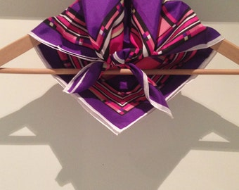 Vintage Australian scarf in purple & pink with geometric retro pattern and rolled hem, made in Australia