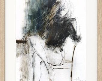 Woman drawing, Giclee art print, Charcoal sketch, Woman print, Figurative Artwork, Graphic art print, Living room wall decor, Fine art print