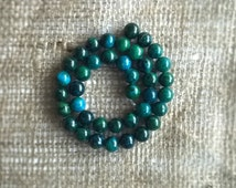 20 Chrysocolla beads, natural Chrysocolla bead strand, DIY jewelry, craft supply, natural stone beads, bead supply, 10 mm, half strand