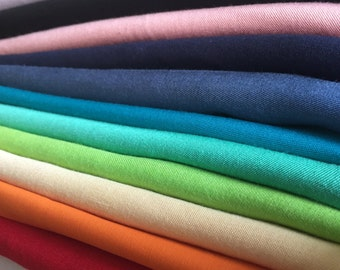 100% Tencel Lyocell Rayon Gabardine Twill Multiple Colors Drape Opaque Medium Weight Woven Fabric By the Yard